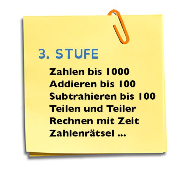 3. Klasse - Zahlen bis 1000, Addieren bis 100, subtrahieren bis 100, Teilen und Teiler, Rechnen mit Zeit, Zahlenrätsel